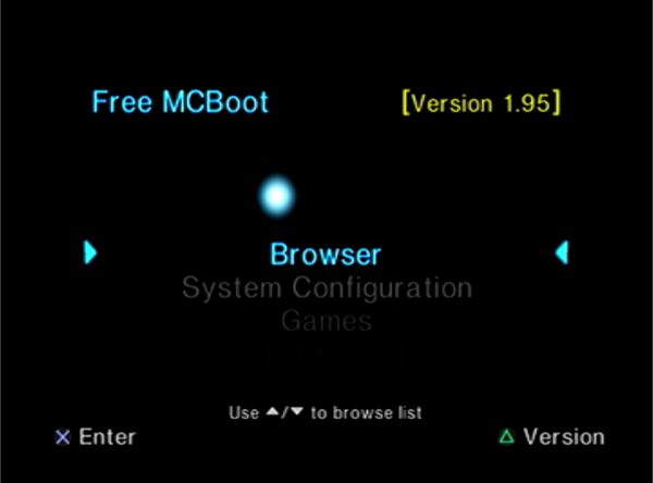 FreeMCBoot Menu Screen
