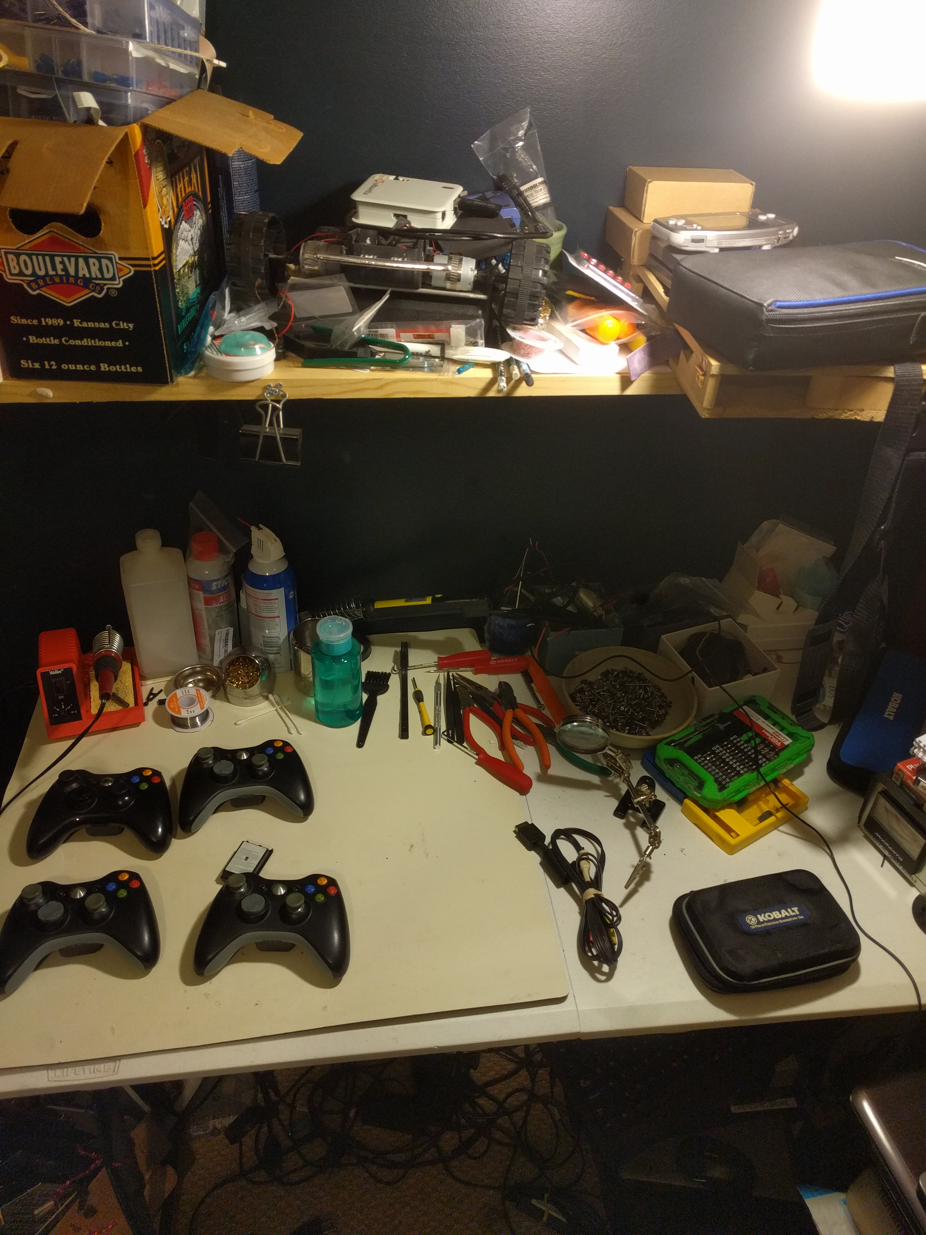 Xbox 360 controllers on the workbench